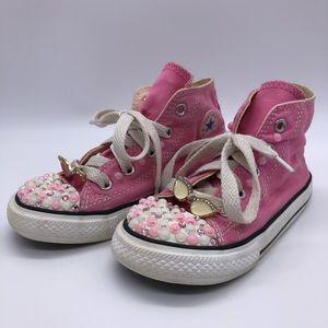 CONVERSE - Little girls pink hightop sneakers SZ 9